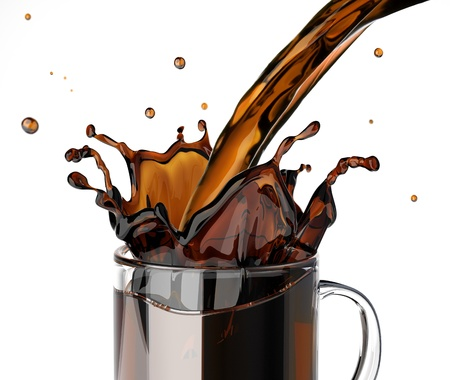 Pouring coffee splashing into a glass mug  On white background