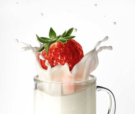 Strawberry falling into a glass mug full of milk, splashing  On white background  photo