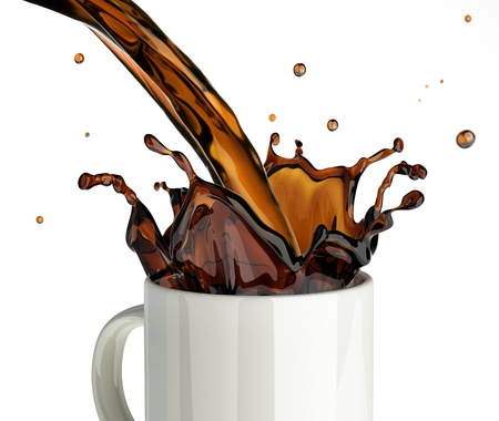 Pouring coffee splashing into a glass mug  On white background Reklamní fotografie - 19918688