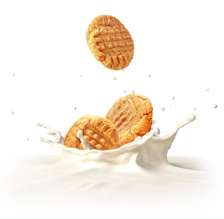 milk splash: Two cookies biscuits falling into milk forming a crown splash  On white background  Stock Photo