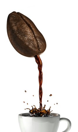 Huge coffee bean with hole pouring coffee into a mug splashing  On white background, with clipping path included