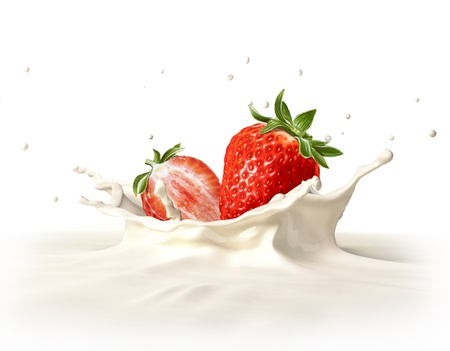 dropping: Two strawberries falling into milk forming a crown splash  On white background