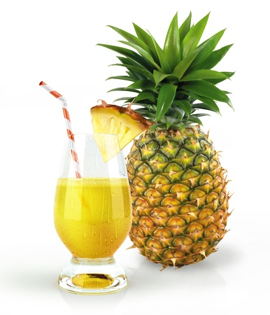 Pineapple and drink glass, with a fruit chunk and straw  With condensation droplets on white background  Stock Photo