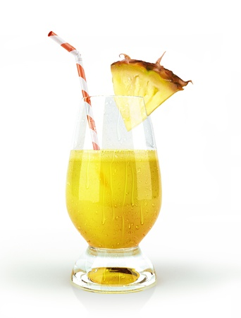 Pineapple drink glass, with a fruit chunk and straw With condensation droplets on white background Clipping path included Stock Photo