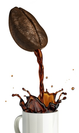 Huge coffee bean with hole pouring coffee into a mug splashing  On white background  photo
