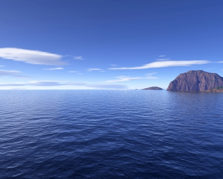 seascape with rock islands. Blue sky with some clouds in background. Bird eye view. photo