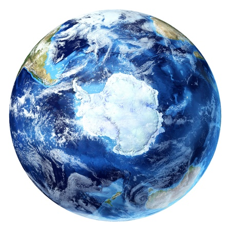 antarctic: Earth globe, realistic 3 D rendering,  with some clouds  Antarctic  south pole  view  On white background