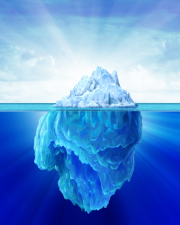 undersea: Iceberg solitary in the sea  Outside and under water sides shown  Soft cloudy sky in the background