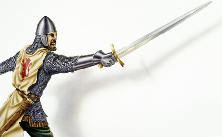 ancient warrior: Middle age Ancient warrior with a sword, in action  On white background with dropped shadow  Airbrush illustration  Clipping path included  Stock Photo