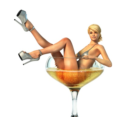 Pretty blond woman in bikini and high heels sitting into a champagne glass  Clipping path included