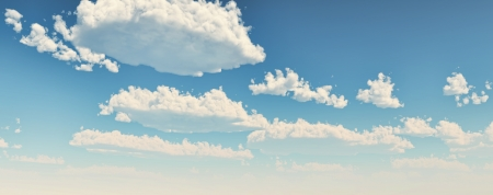 Blue sky with fluffy white clouds. Wide format. Computer generated Image.