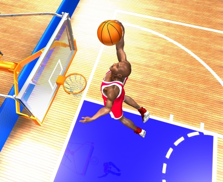 basketball player jumping high photo