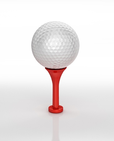 golfball: 3D digital rendering of a Golf ball placed on tee, on white surface, with clipping path.