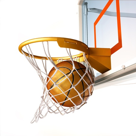 Basket ball centering the basket, with the ball inside the net, close up view, on white background