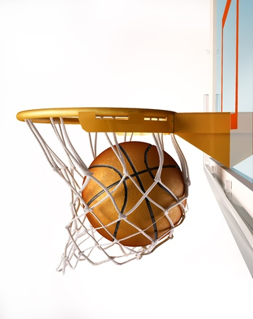 centering: Basket ball centering the basket, with the ball inside the net, close up view, on white background