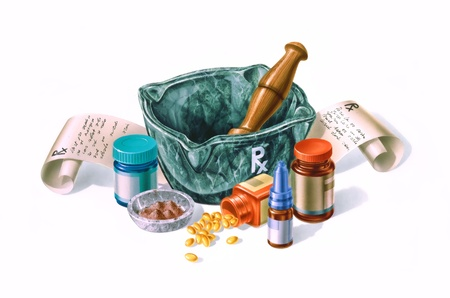 Mortar surrounded by drugs, medicines and prescriptions  Composition on white background  photo