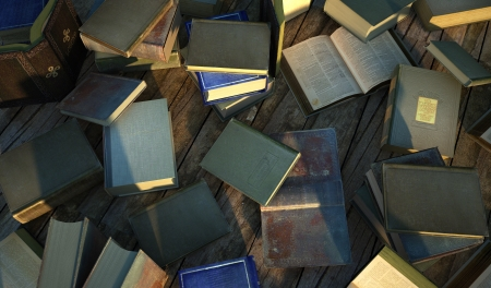 Many old and ancient books, spread over a wooden surface  photo