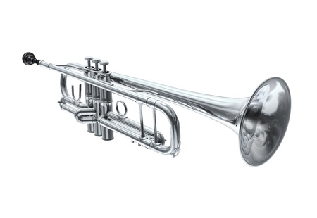 Silver trumpet, perspective view Imagens - 20083220