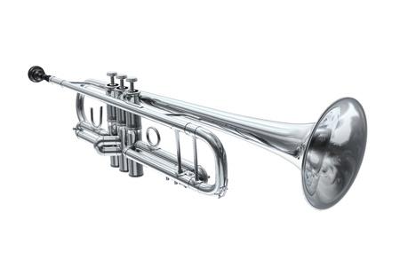 Silver trumpet, perspective view Banco de Imagens - 20083220