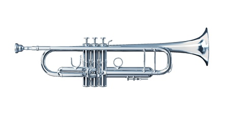 troubadour: Silver trumpet viewed from a side  Stock Photo