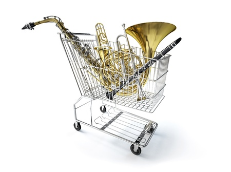 woodwind instrument: Supermarket trolley, full of wind musical instruments  On white background, with clipping path