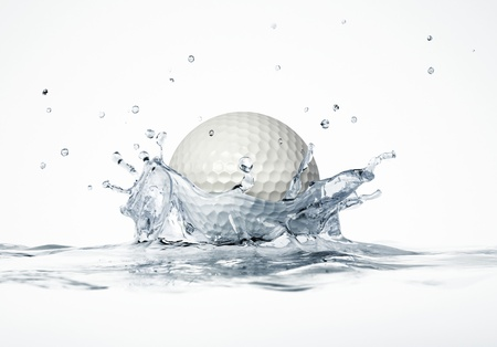 White golf ball splashing into water, forming a crown splash  On white background, with depth of field  3 D digital rendering