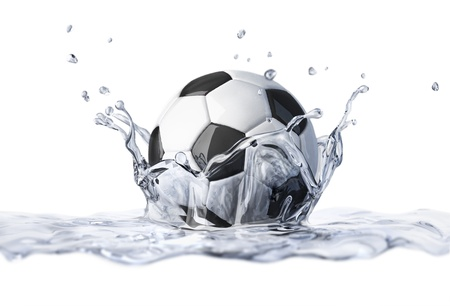 Soccer ball falling into clear water, forming a crown splash  On white background, with depth of field  Stock Photo - 20083234