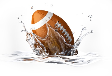 American football ball, falling into clear water, forming a crown splash  On white background, with depth of field