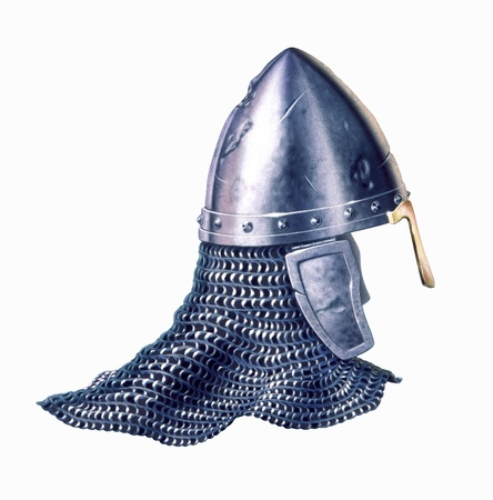 Middle age warrior helmet, on white background, with clipping path included  Close up view  Airbrush illustration  illustration
