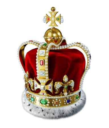 Royal gold crown, with many jewels, decorations and ermine fur, isolated on white background  Clipping path included