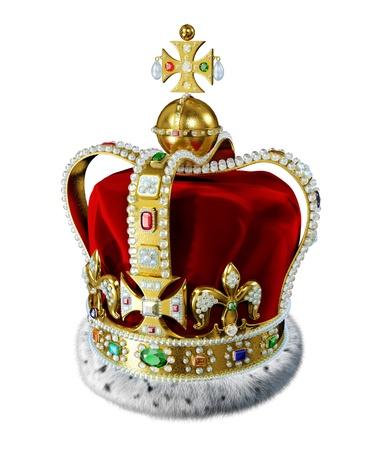 rey: Royal corona de oro, con muchas joyas, adornos y pieles de armi�o, aislado en fondo blanco Trazado de recorte incluidos