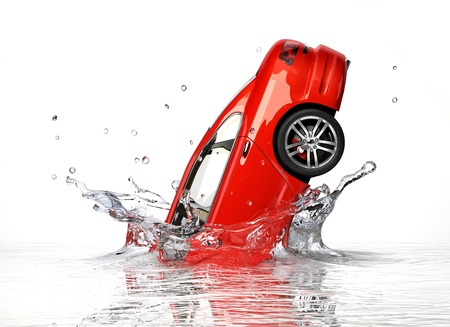 Red generic sedan car, falling into water splashing  Isolated on white background  photo