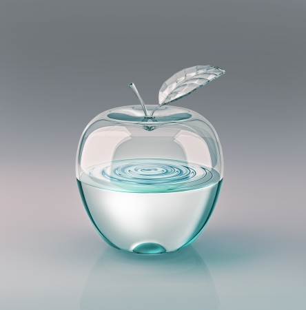 Apple with leaf, made of glass and half filled of clear water. On grey neutral background. With clipping path included.