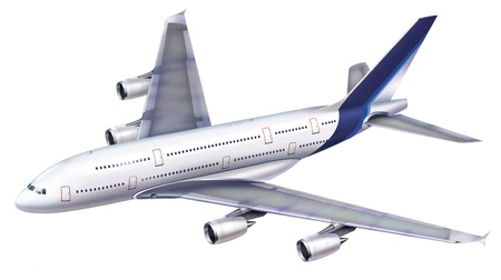 A 380 passenger aircraft. Viewed from above in perspective, on white background, with clipping path. Stock Photo