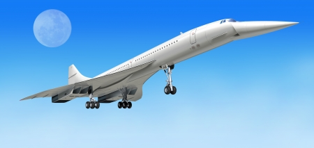 concorde: Concorde supersonic airliner aircraft, during take off, or landing. On clear blue sky and big moon as background. clipping path included.