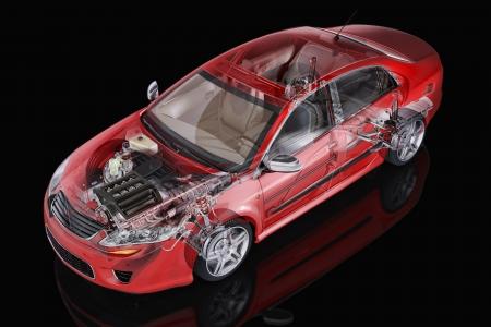 Generieke sedanauto gedetailleerd cutaway vertegenwoordiging, met ghost effect, op zwarte kronkelen. Het knippen inbegrepen weg.