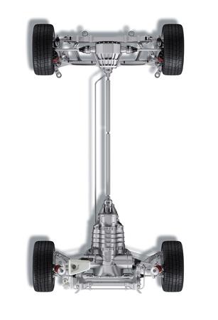 motor de carro: Bajo carro t�cnica 3 D de representaci�n, de un coche moderno sed�n gen�rico. Sobre fondo blanco, con trazado de recorte.