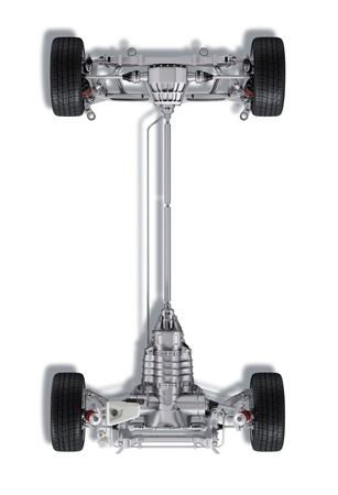 motor de carro: Bajo carro técnica 3 D de representación, de un coche moderno sedán genérico. Sobre fondo blanco, con trazado de recorte.