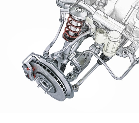 Multi link front car suspension, with brake. perspective view. Photorealistic 3 D rendering, with morphing effect to sketch hand drawing.