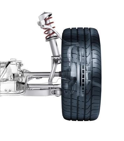 frenos: Suspensi�n multibrazo delantera del coche, con el freno. vista frontal. 3 D de representaci�n fotorrealista, con efecto morphing para dibujar dibujo a mano.