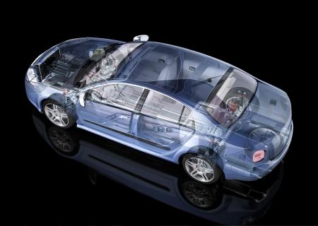 一般的なセダン車詳細断面図表現、黒い背景上のゴースト効果を持つ。サイドリアフィード斜視。クリッピング パスが含まれています。 写真素材