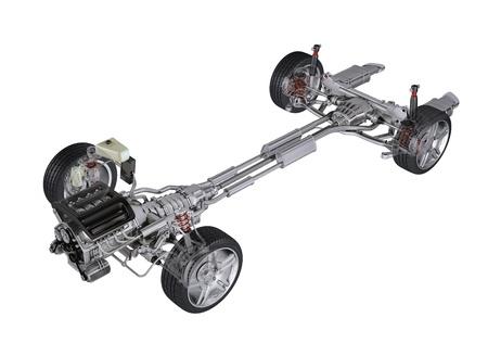 motor de carro: Bajo carro técnica 3 D de representación, de un coche moderno sedán genérico. Vista en perspectiva sobre fondo blanco, con trazado de recorte. Foto de archivo