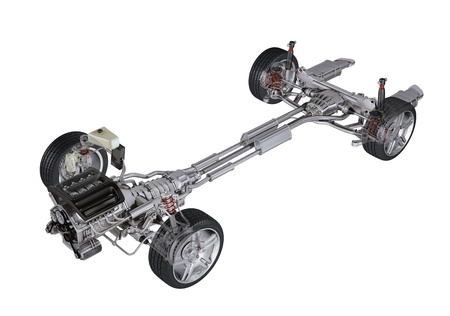 Under carriage technical 3 D rendering, of a generic sedan contemporary car. Perspective view On white background, with clipping path. photo