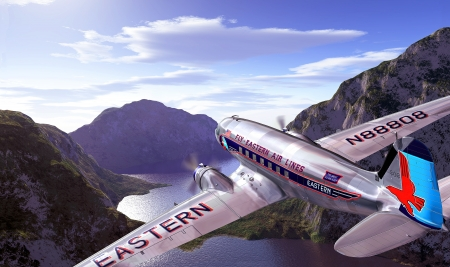 viewed from behind: DC3 flying over mountains and lake, with blue sky and clouds on background  Close up on the plane, viewed from behind above