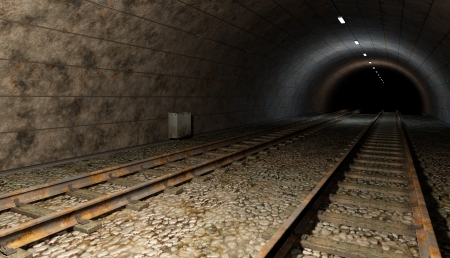 Old rail train tunnel with double track  Dark bottom, with some lights inside  photo
