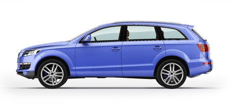 Blue car, luxury SUV  Isolated on white background  With clipping path icluded
