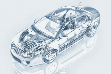 piezas coche: Auto sedan Genérico detalla representación seccionada, con efectos fantasma, en estilo dibujo a lápiz, el camino de recortes backgound neutral incluido