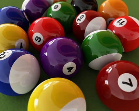 8 ball billiards: Group of billiard balls with numbers, on green carpet table  Close up view