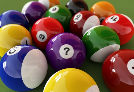 Group of billiard balls with numbers, on green carpet table, where the centered ball, has a question mark on it, instead of a number  Close up view  photo