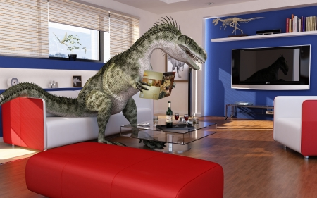 Modern living-room with a theropod dinosaur, sitting on the sofa, reading a dinosaurs book  3 D digital rendering Stock Photo - 20083724
